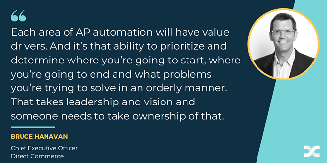 Direct Commerce CEO Bruce Hanavan quote about key value drivers in P2P automation