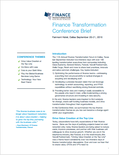 Finance Transformation Conference Brief