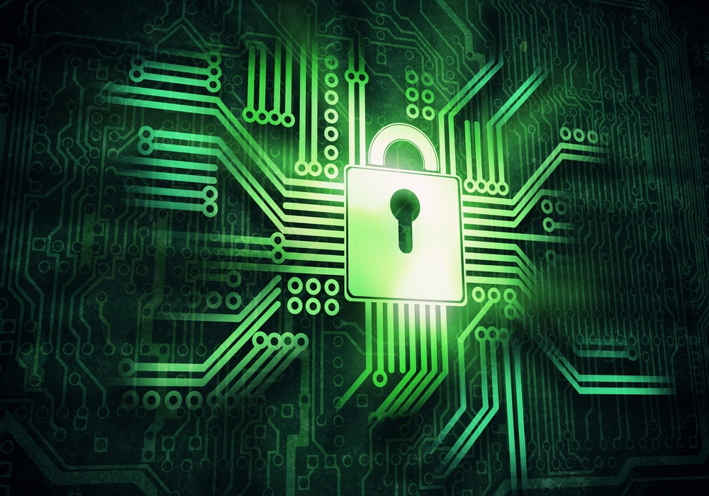 Conceptual digital image of lock on circuit background