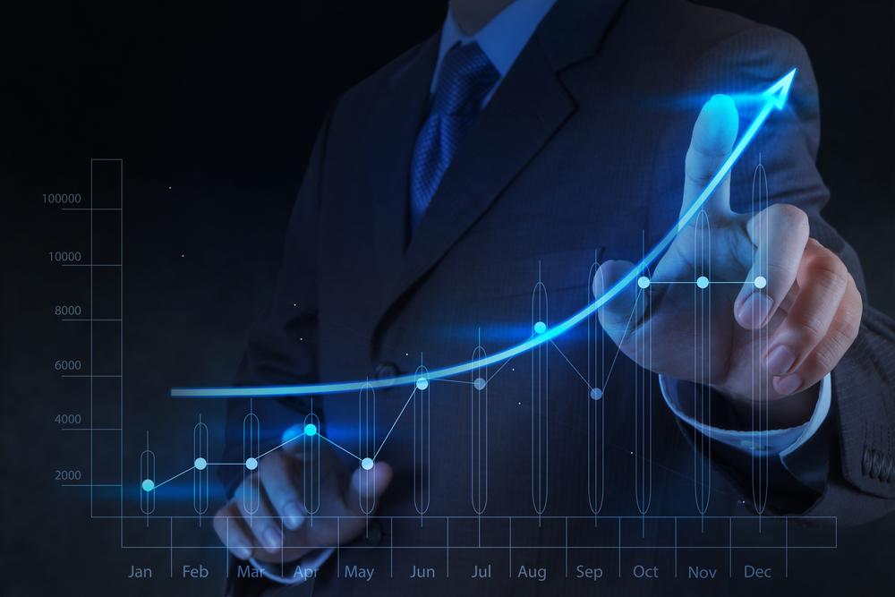 businessman hand touch 3d virtual chart business