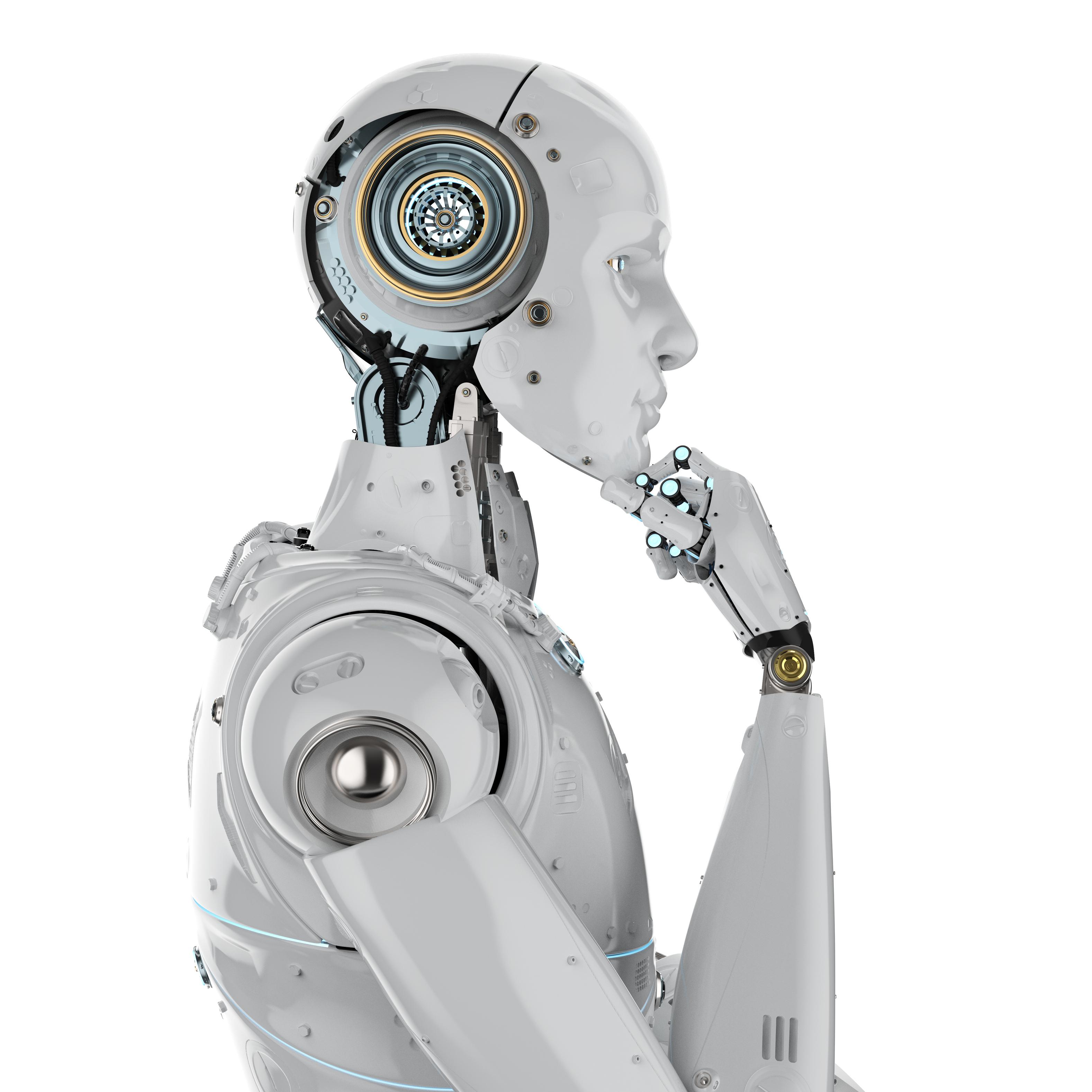 White robot thinking