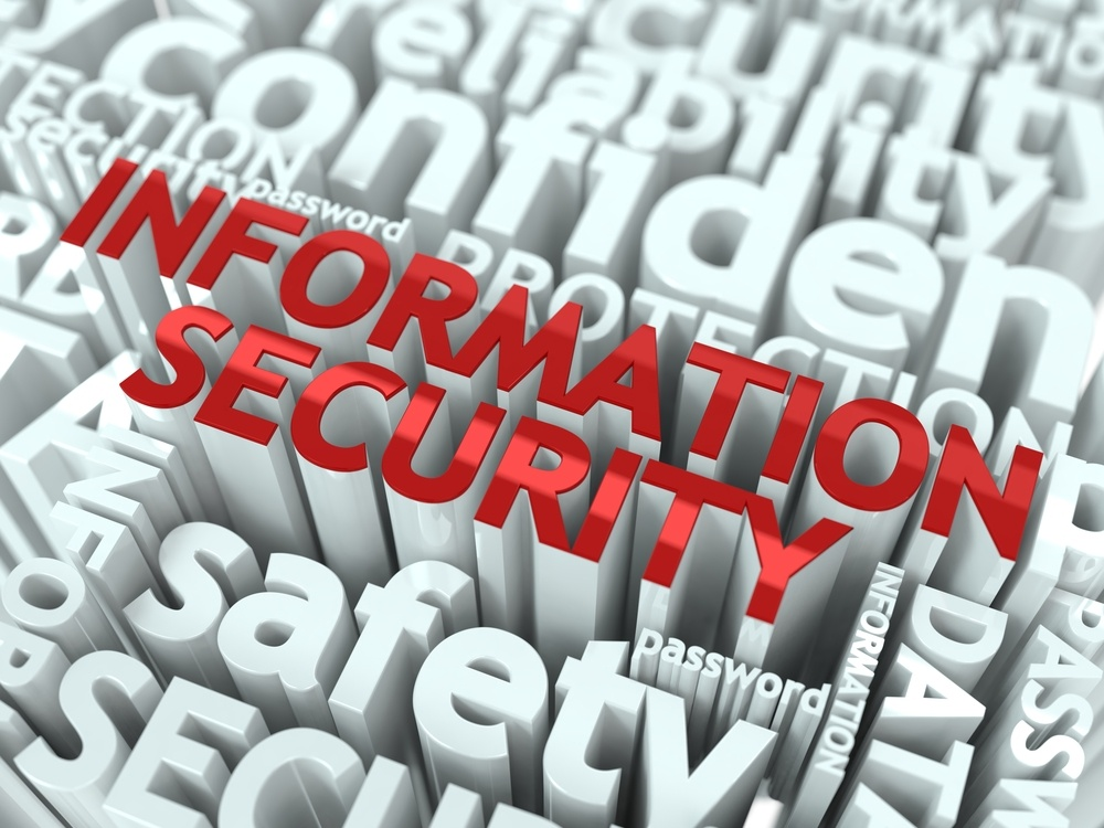 Information security written in red surrounded by related words in white